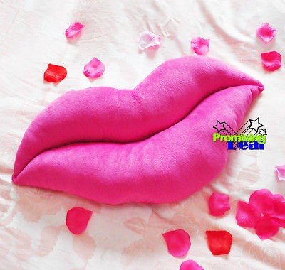 20 HUGE SOFT STUFFED LIPS Plush Cushions Nap Pillow Pink
