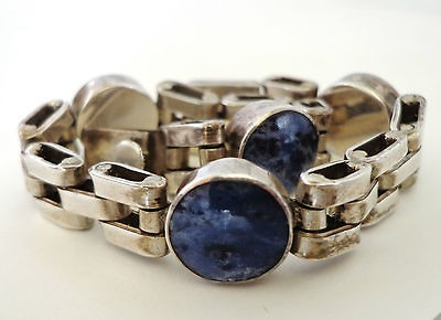 MEXICO MEXICAN STERLING SILVER BLUE SODALITE GEM STONE CHAIN BRACELET