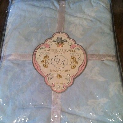 Rachel Ashwell Shabby Chic Damask Baby Blue And White Twin Duvet NIP