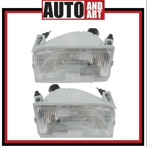 New Pair Set Headlight Headlamp SAE DOT 92 96 Ford Bronco Pickup