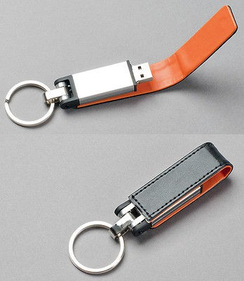 Premium Black Leather/Orange Trim Key Fob USB Flash Drive(Stick/Pen
