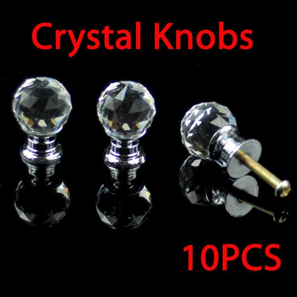 20mm Round Crystal Glass Cabinet Knobs Drawer Furniture Pull Handle