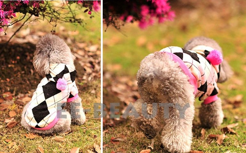 Lovely Purple Diamond Check Cotton Pet Dog Clothes Spring Dress