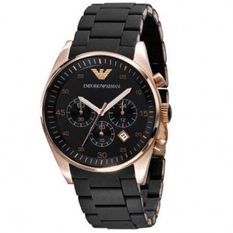 Mens Black Gold Chronograph Emporio Armani Watch AR5905 RRP299