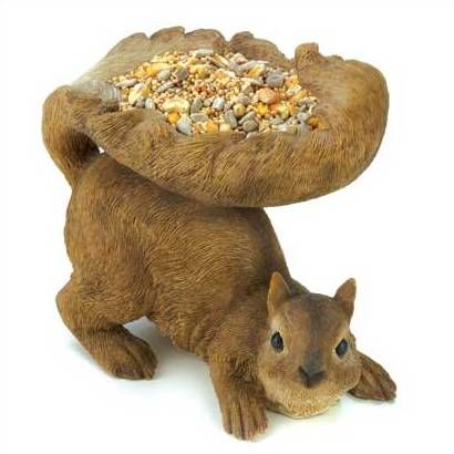 Woodland Squirrel Bird Feeder Outdoor Home Garden Yard Art Statue
