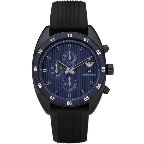 Emporio Armani Sportivo Mens Watch AR5930 All Black IP Rubber Band