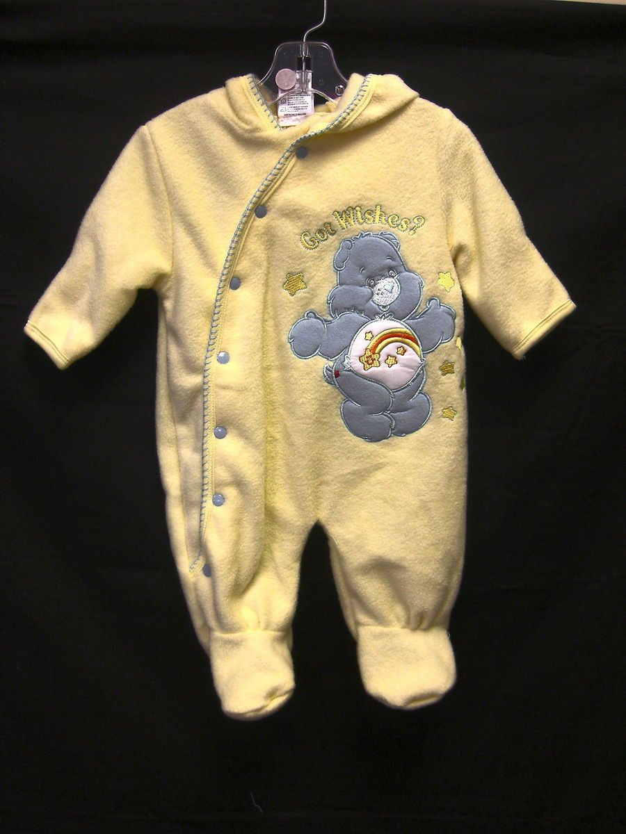 Care Bears Baby Girls Boys One Piece Button Fleece Hooded Footie Blue