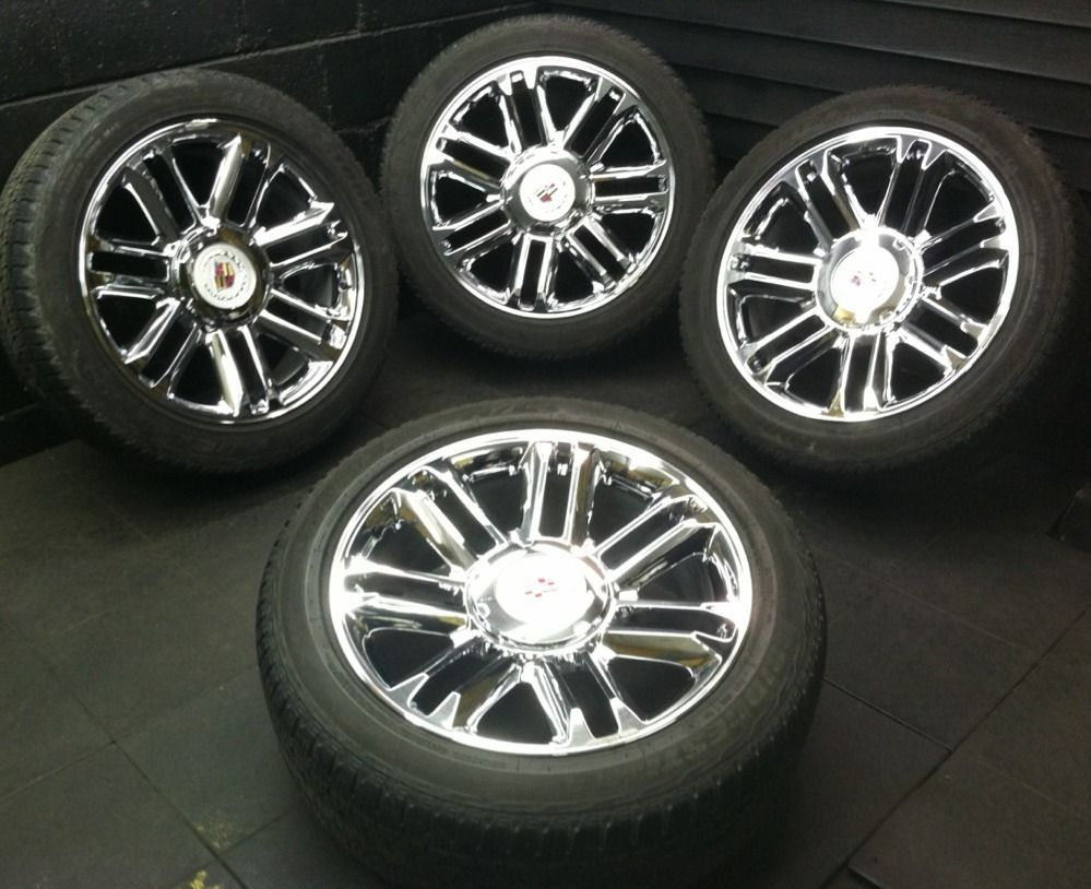 CHROME OEM CADILLAC ESCALADE PLATINUM FACTORY 2013 WHEELS RIMS TIRES