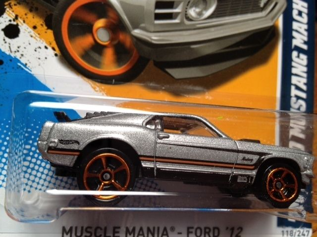 2012 Hot Wheels 70 Ford Mustang Mach 1 Silver